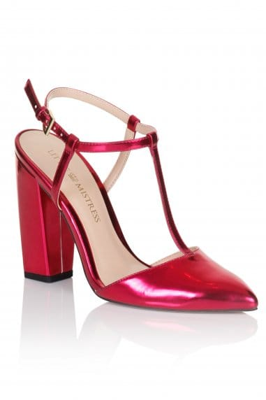 Metallic Pink T-Bar Pointed Heels