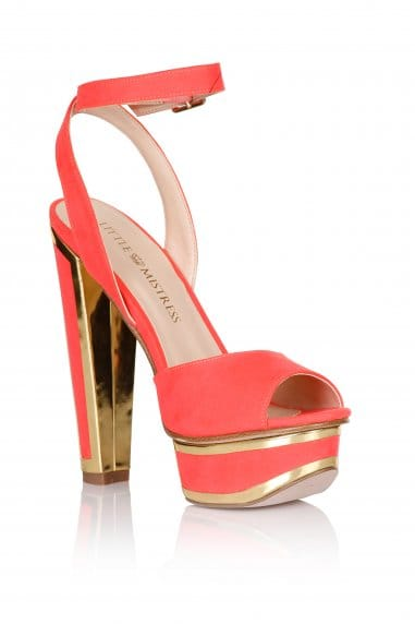 Coral and Gold Trim Heel Shoes