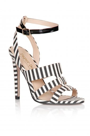 Black and White Stripe Triple Strap Heels
