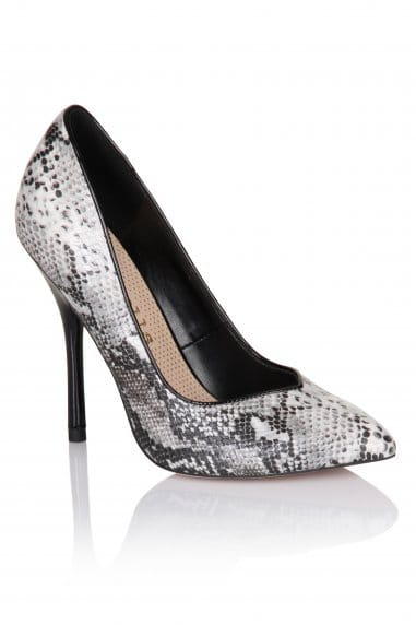 Grey Snakeskin Pointed Court Shoe