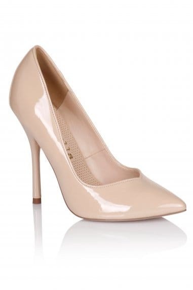 Nude Patent Pointed Court Shoe