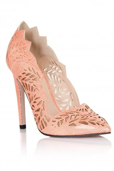 Coral Cut Out Pointed Court Shoes