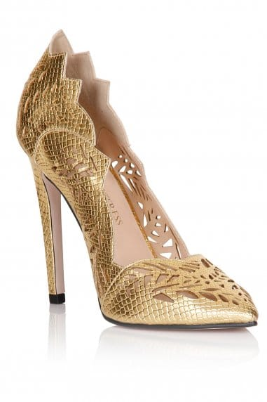 Gold Cut Out Pointed Court Shoes