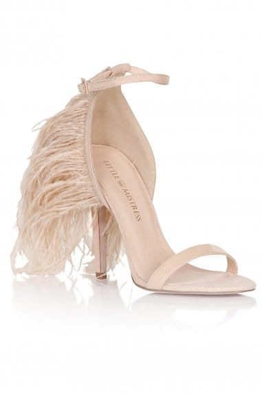 Nude Two Strap Feather Heels