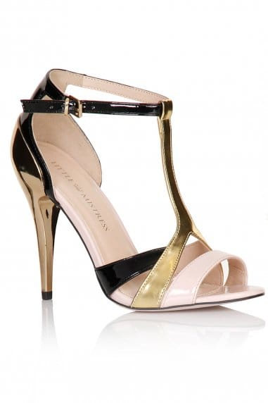 Black, Gold and Pink Multi Strap Stilettos