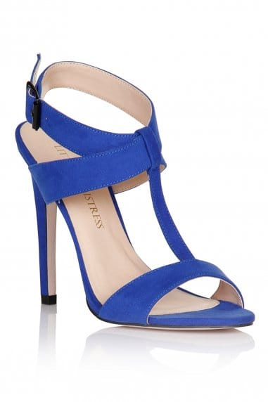 Blue Cross Over Buckle Heels