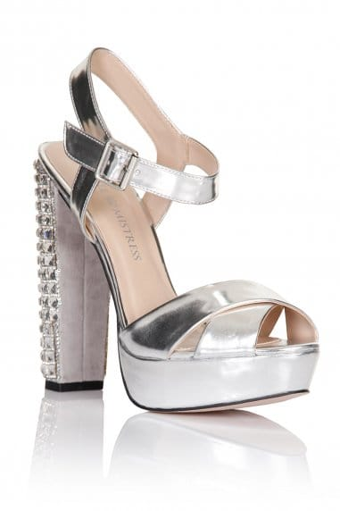 Silver Diamante Heel Shoes