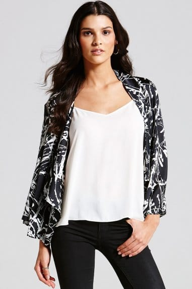 Black and White Slash Print Open Blazer