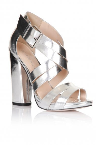 Silver Cross Over Multi Strap Heels