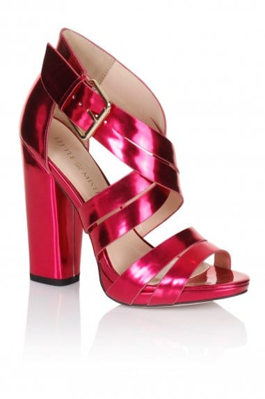 Pink Cross Over Multi Strap Heels