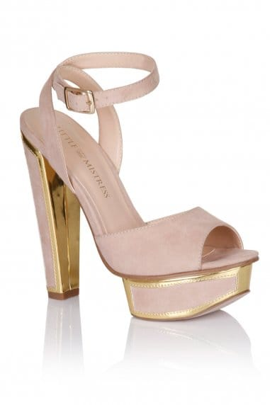 Nude and Gold Trim Heel Shoes