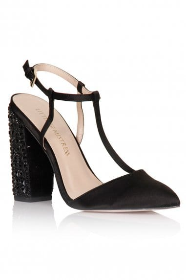 Black T-Bar Embellished Heels