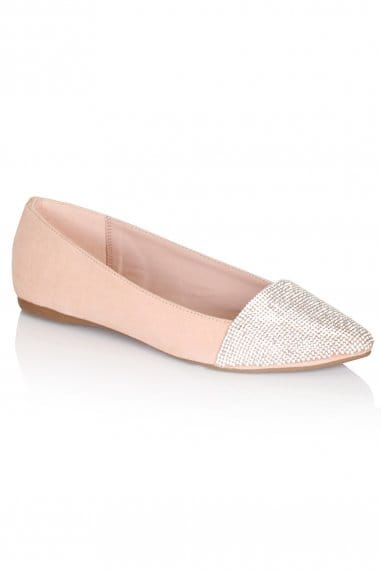 Nude Pointed Glitter Pumps