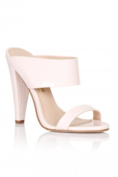 Nude Two Strap Slip On Heels