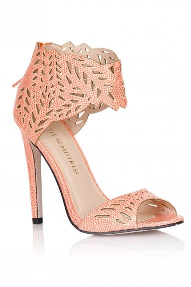 Pink Cut Out Ankle Cuff Heels
