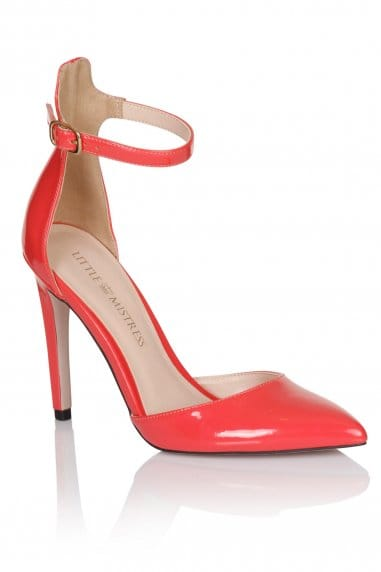 Coral Pointed Ankle Strap Court Shoes