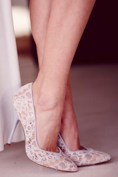 Blue Lace Pointed Court Shoe