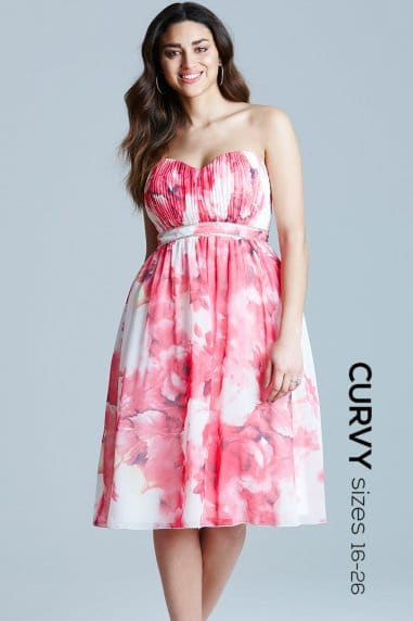Floral Print Embellished Waist Bandeau Dress
