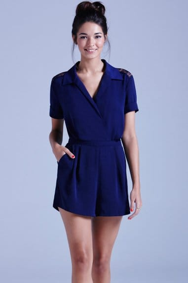 Navy Collared Playsuit