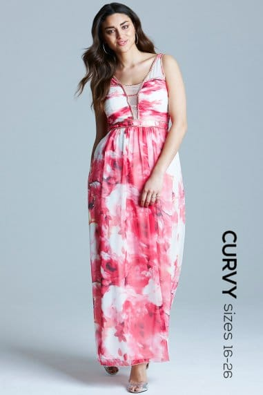 Pink Floral Embellished Strap Maxi Dress