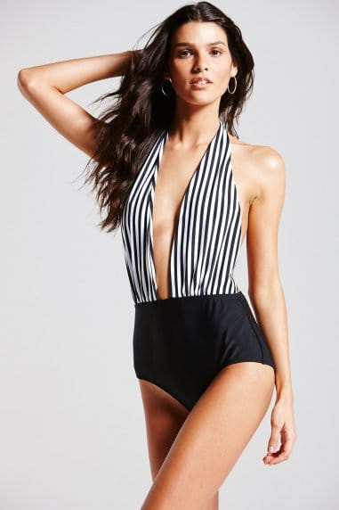 Striped Monochrome Swimsuit