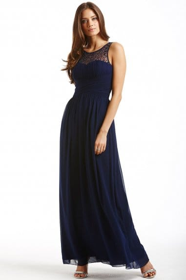 Navy Embellished Detail Maxi Dress