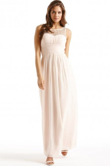 Nude Embellished Detail Maxi Dress