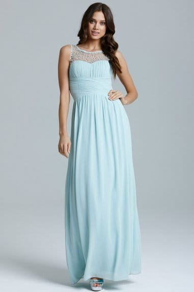 Blue Embellished Detail Maxi Dress