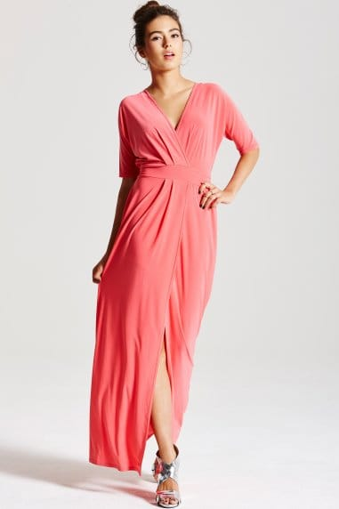 Coral Split Hem Maxi Dress