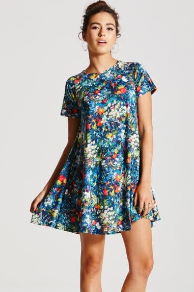 Watercolour Floral Swing Dress