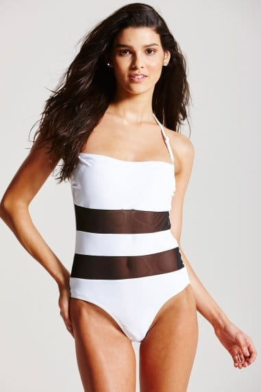 Black and White Insert Swimsuit