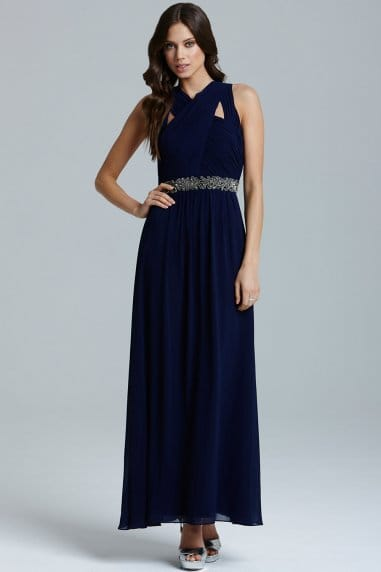 Navy Cross Over Embellished Maxi Dress