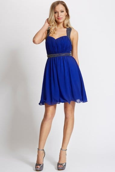 Blue Embellished Skater Dress
