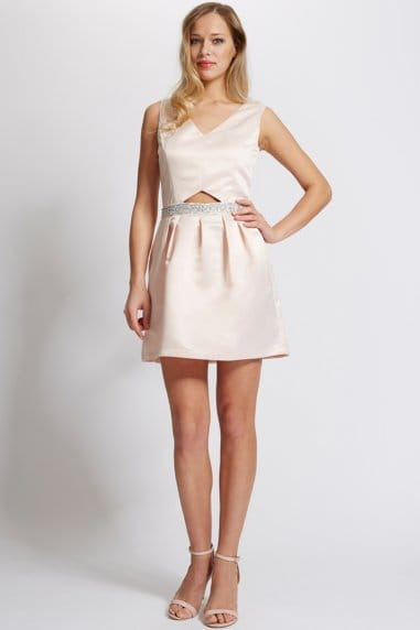 Nude Satin Cut Out Dress