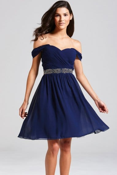 Navy Off the Shoulder Embellished Dress