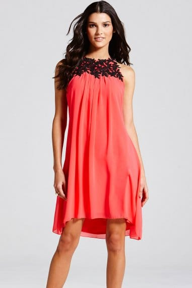 Coral Chiffon Embroidered Neck Dress