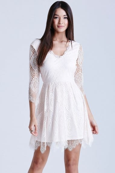 Nude Eyelash Lace Dress