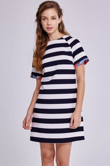 Navy and White Stripe Floral Trim Tunic