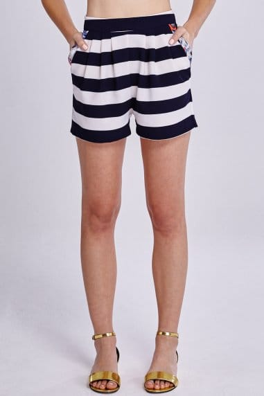 Navy and White Stripe Floral Trim Shorts