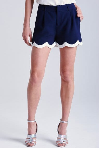 Navy and Cream Scalloped Shorts