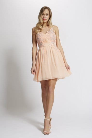 Laced In Love Peach Embellished Prom Dress