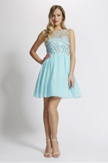 Laced In Love Turquoise Embellished Front Prom Dress