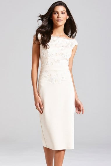 Nude Embroidered Bardot Dress