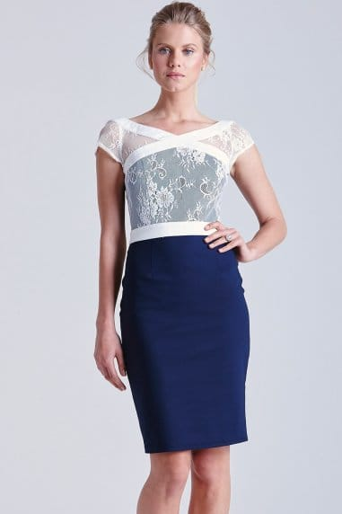 Navy and White Lace Dress