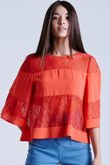 Coral Lace and Chiffon Band Top