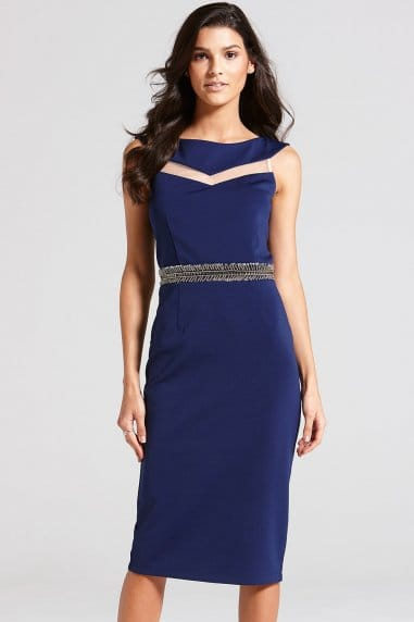 Navy Mesh Insert Bardot Dress