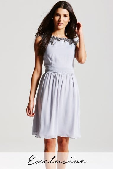 Grey Embellished Top Dress