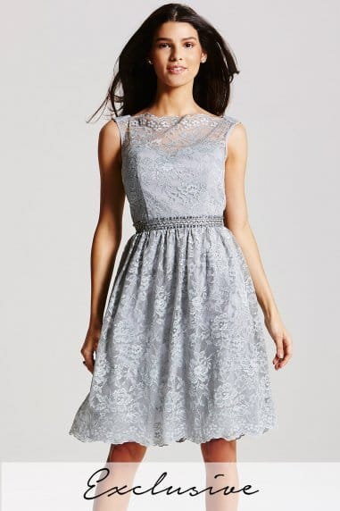 Grey Lace Fit and Flare Dress