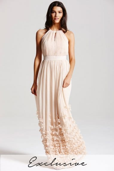 Nude halter neck applique maxi dress