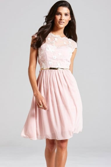 Pale Pink Floral Embroidered Fit and Flare Dress
